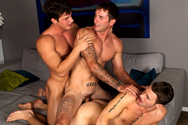 Brandon barebacks Peter & Duncan in their tight virgin asses and creampies Duncan at Seancody