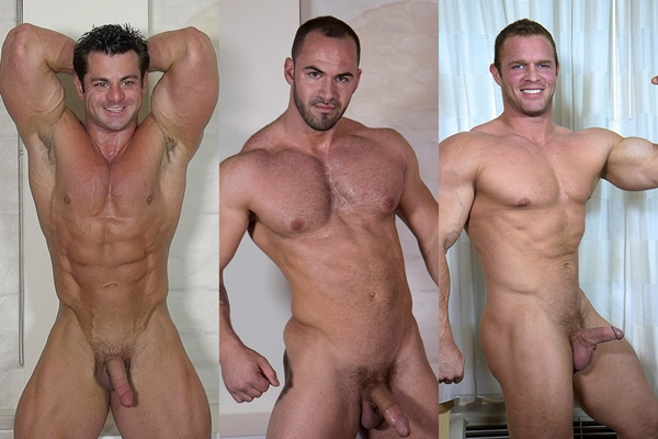 Three big muscle hunk Frank DeFeo, Rex and Zach show off their hot naked bodies and dump their white jizz at Theguysite