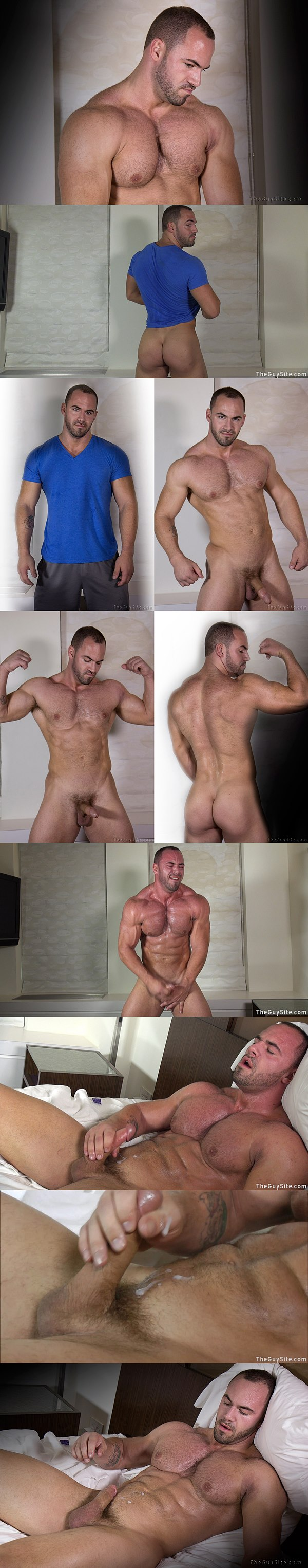 Rugged handsome muscled Rex has an intense jerking off in Distinctive Assets at Theguysite