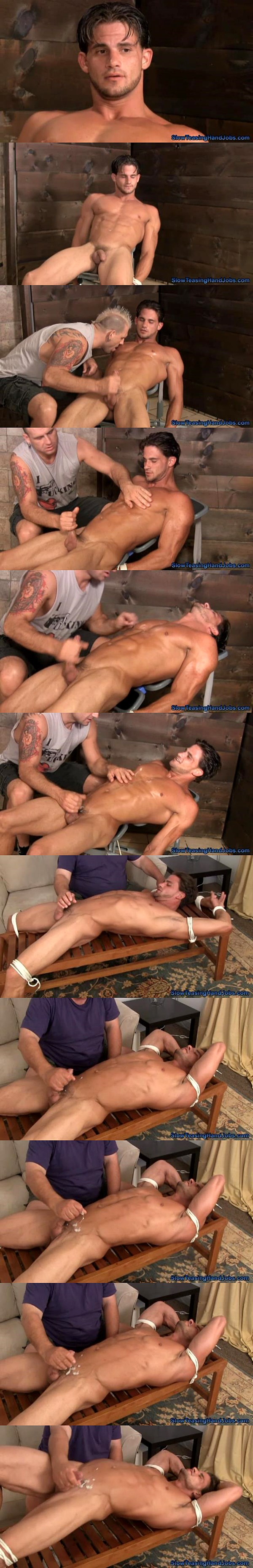 Super hot muscular straight guy Brandon gets racked and tormented till shooting his thick milky load at slowteasinghandjobs 02