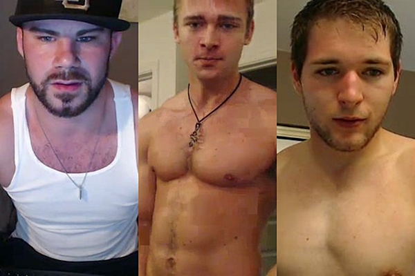Three hot athletic jocks Drew Michael, Jaden Storm and JJ Swift have hot jacking off cam show with dildo play at Gayhoopla