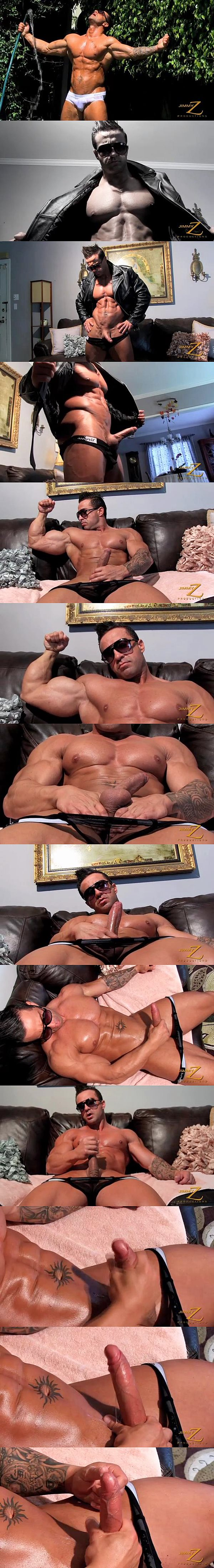 Rugged handsome muscle hunk Armani shoots his big load in Ripped to the Max Pt. 2 at Jimmyzproductions 02