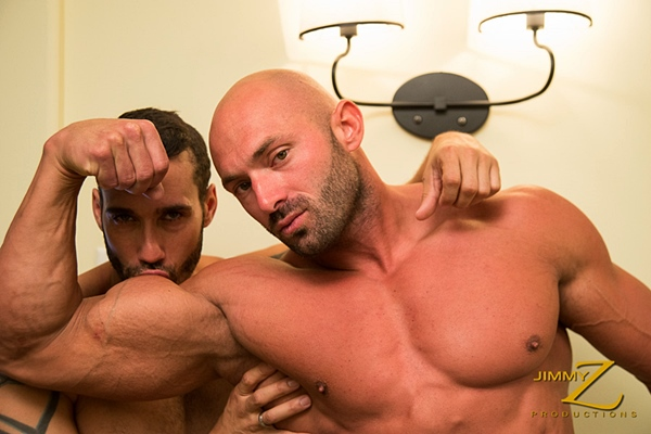 Max Chevalier & Alexy Tyler have a horny muscle worship session in Room Service Part 1 at Jimmyzproductions