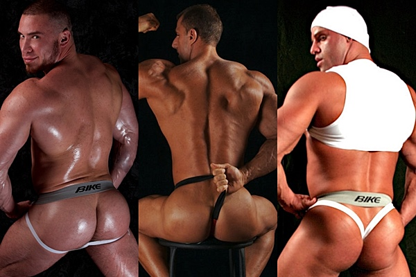 Muscular bodybuilders Angelo, Johnny Cruise and Peter Latz show off their hot bodies and big hot muscle asses at Jockbutt