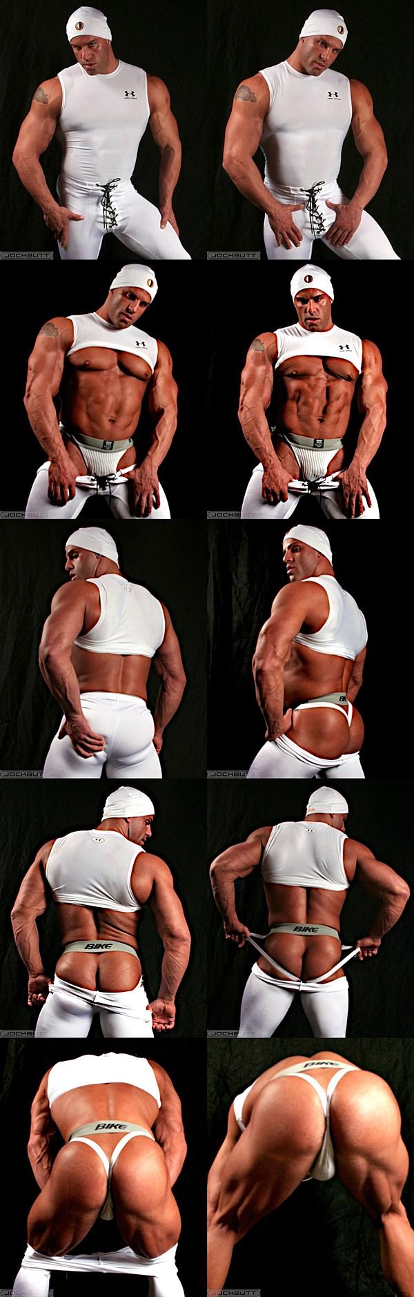 Masculine rugged hunk Peter Latz show off his hard muscles and big sexy ass at Jockbutt