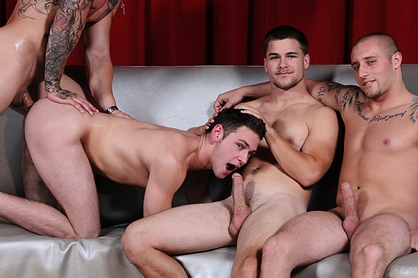 Sebastian Young, Jimmy Johnson and Cameron Knight fuck Duncan Black in Fuck Club 2 at Jizzorgy