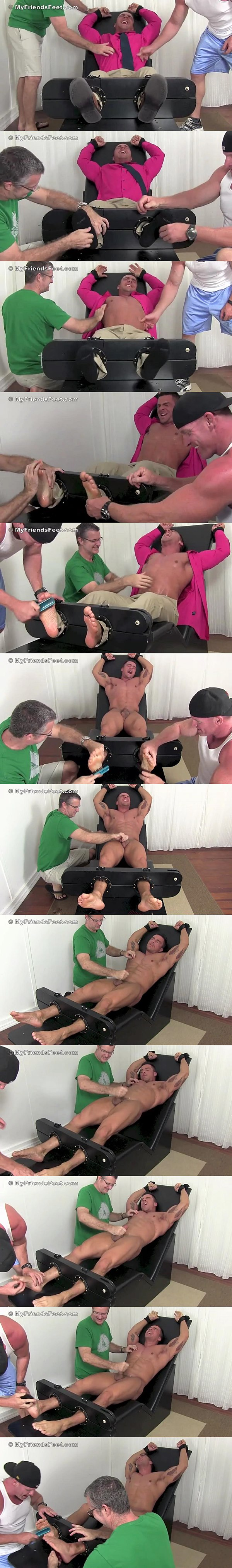 Macho straight muscle jock Braden Charron gets jerked-off & tickled at Myfriendsfeet 02
