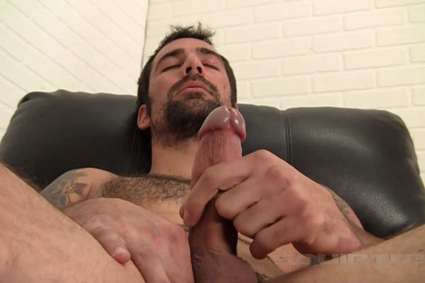 Macho hairy straight cop Jared shoots his creamy load at Squirtit