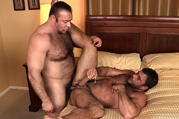Hot daddy bear Brad Kalvo barebacks and breeds Mike Dozer in his hairy muscle hole at Cocksuremen
