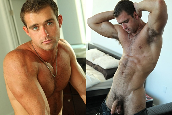 Super handsome muscle jock Raphael shows off his hot hairy body and shoots two huge loads at Fratmen