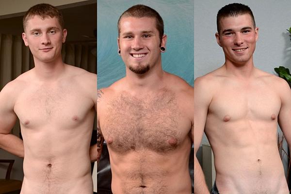 Hot straight Marine studs Dakota, Preston and Randy shoot their creamy loads at Spunkworthy