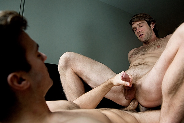 Hot muscular Colby Keller & Gabriel Clark flip-fuck and Colby cums while being fucked at Cockyboys