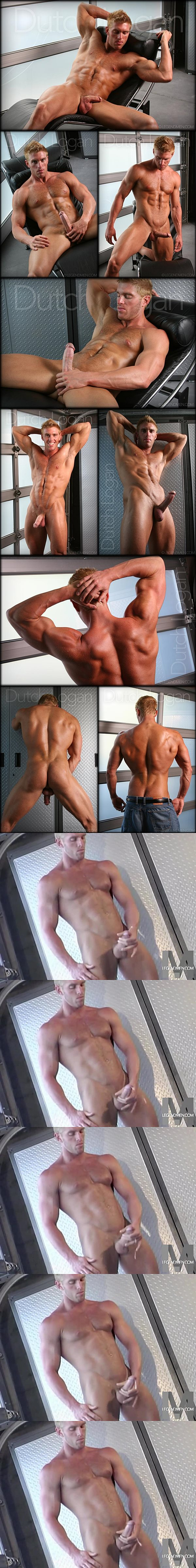 Hot blond musle hunk Dutch Logan shoots his big load at Legendmen
