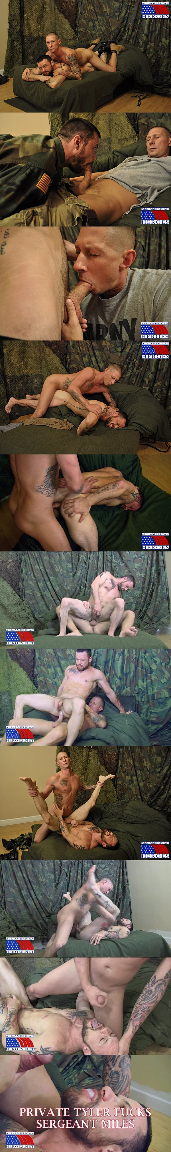 Horse hung private Tyler power fucks masculine sergeant Miles and gives him a hot cum facial at All-americanheroes 02