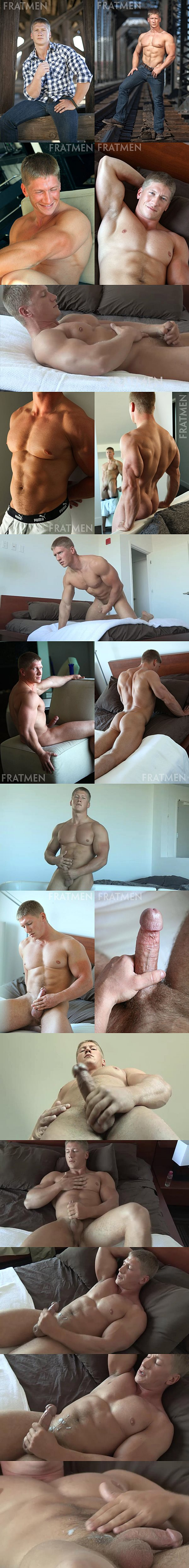 Super handsome athletic jock Hayden shows off his hot ripped body and shoots his big load in Hayden Up-Close at Fratmen 02