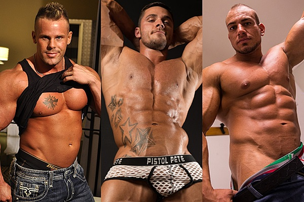 Sexy muscle hunks Connor Stewart, Joey Van Damme and Manu Rock show off their hot muscular bodies at Jimmyzproductions