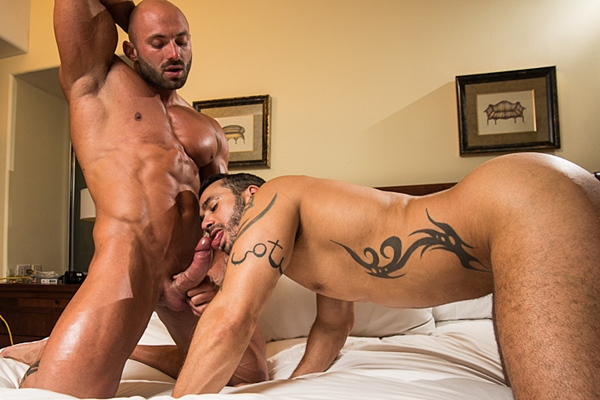 Hot bodybuilder Max Chevalier fucks Alexy Tyler's muscle ass in Room Service Part 2 at Jimmyzproductions