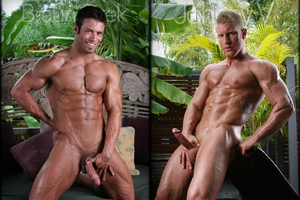 Hot muscled Braun Drek and Johnny V show off their hot naked bodies and shoot their big loads of cum at Legendmen