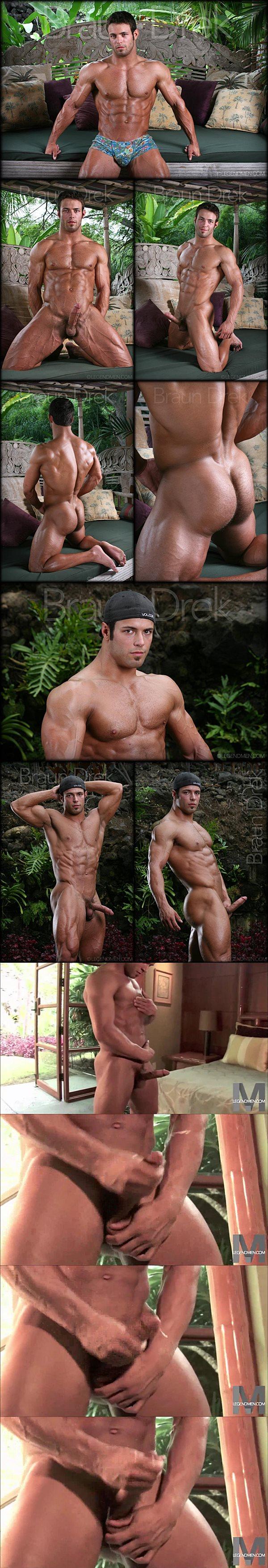 Sexy muscle hunk Braun Drek shoots 12 big cumshots in a row at Legendmen