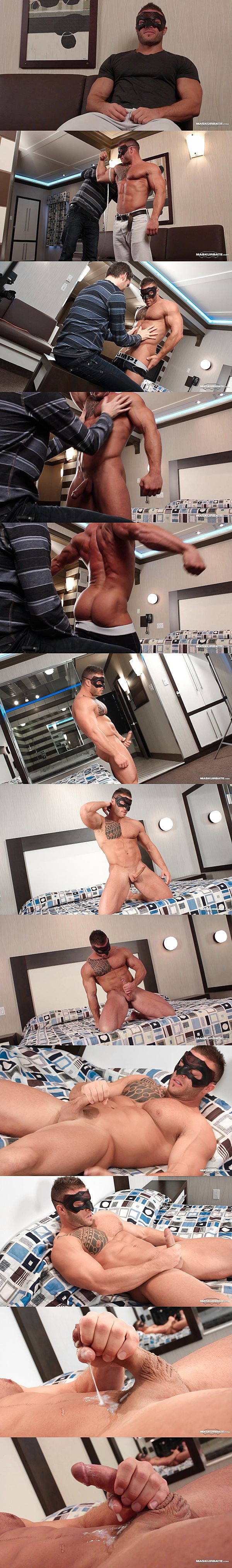Masculine bodybuilder Devon Dexx shows off his hot muscle body and releases his thick sticky cum with a mask on at Maskurbate 02