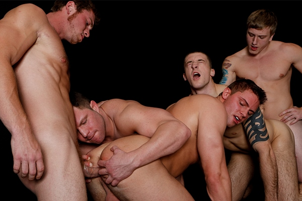 Hot muscled Connor Maguire, Tom Faulk and Travis James Fuck Connor Kline and Jake Wilder in Dark Room at Jizzorgy