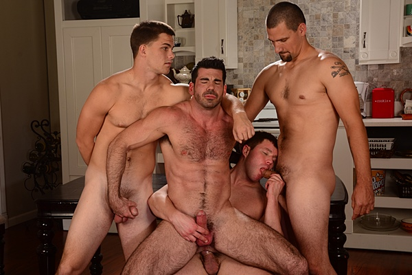 Hot muscle jocks Jimmy Johnson, Jonna Vick & Travis James fuck sexy hairy Billy Santoro in Proverbs of Porn at Jizzorgy