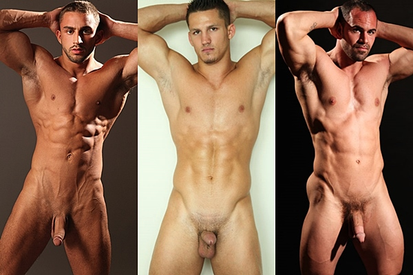 Three sexy muscle jocks Francis, Jonny Maro and Rex show off their hot naked bodies and shoot their milky loads at Paragonmen