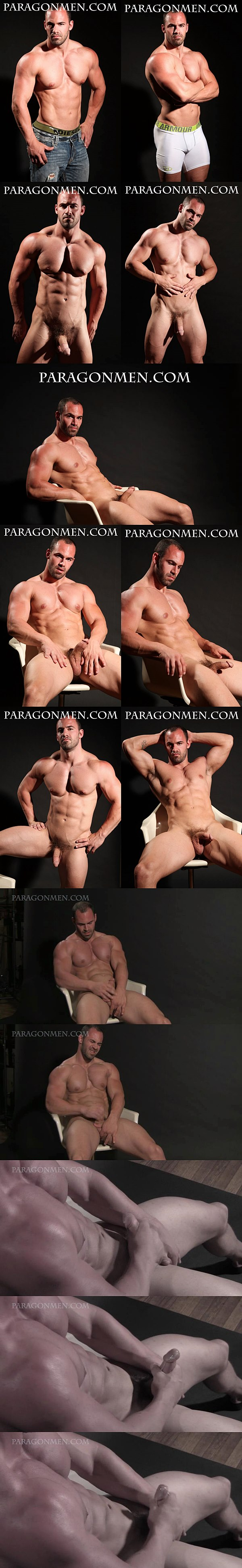 Masculine muscle hunk Rex shows off his hot body shape before he shoots his thick cum at Paragonmen