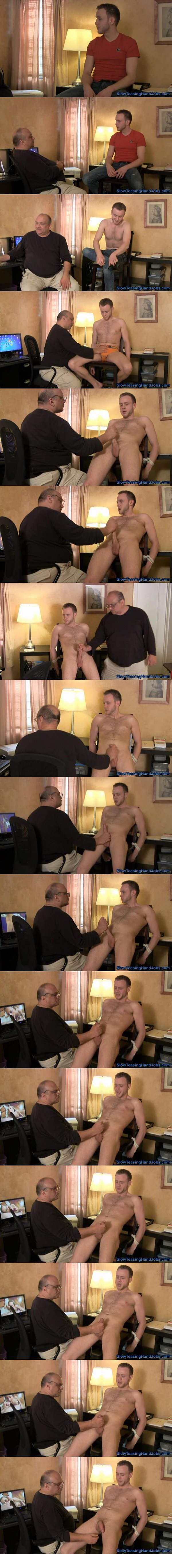Hot blond jock Jason gets tied up and jerked off by Rich in Jason's Audition at Slowteasinghandjobs 02