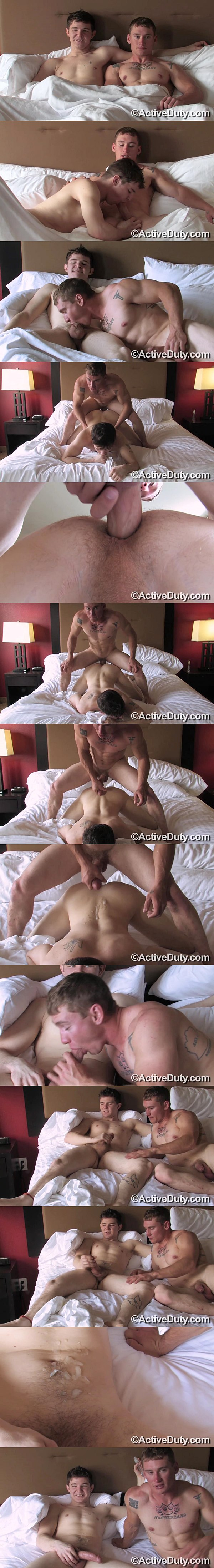 Handsome military dude Tim barebacks Chris in his tight manhole before they blow two big loads at Activeduty 02