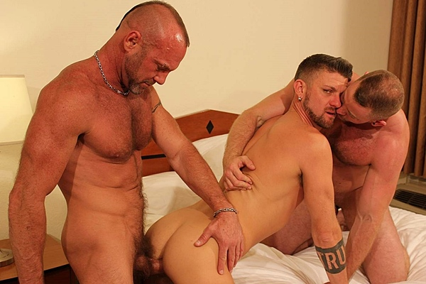 Masculine Shay Michaels and Chad Brock bareback and breed Christian Matthews at Barebackthathole