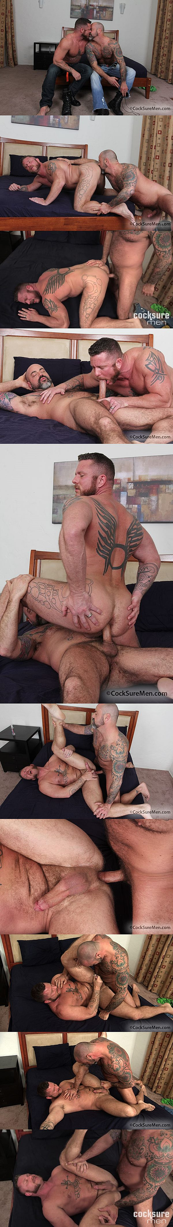 Scotty Rage barebacks Charlie Harding before he fucks the cum out of Charlie and breeds Charlie's muscle ass at Cocksuremen 02