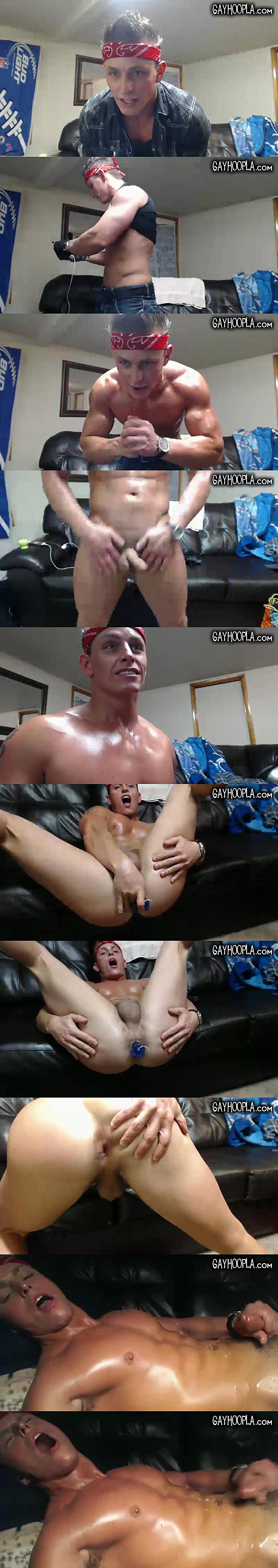 Hot young jock Lincoln Hawk dildo fucks himself and strokes a nice load out of his hard cock at Gayhoopla
