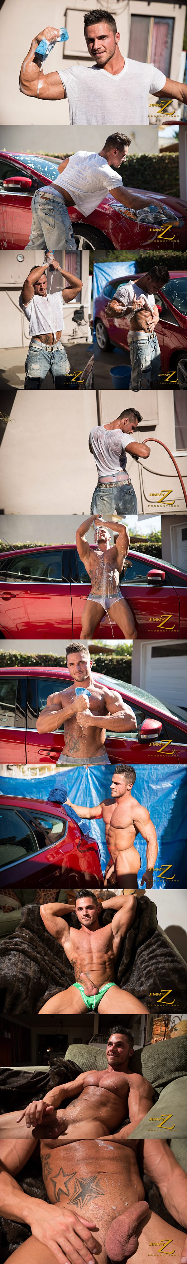 Handsome muscle jock Joey Van Damme washed car before he wanks a big load out of his hard cock in Ripped Car Wash at Jimmyzproductions 02