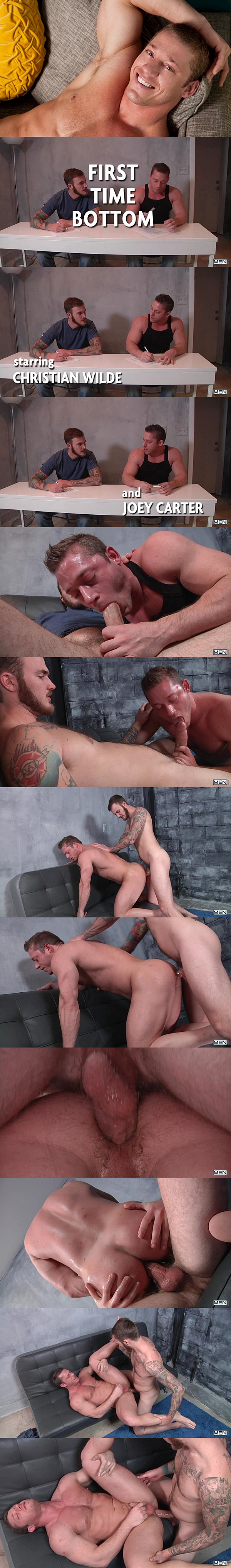 Hot muscle jocks Joey Carter gets his tight virgin ass popped up by Christian Wilde in Top to Bottom Part 8 at Men 01