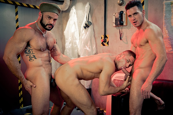Masculine Paddy O'Brian & Rogan Richards fuck hot Russian stud Dato Foland in The End Part 2 at Drillmyhole