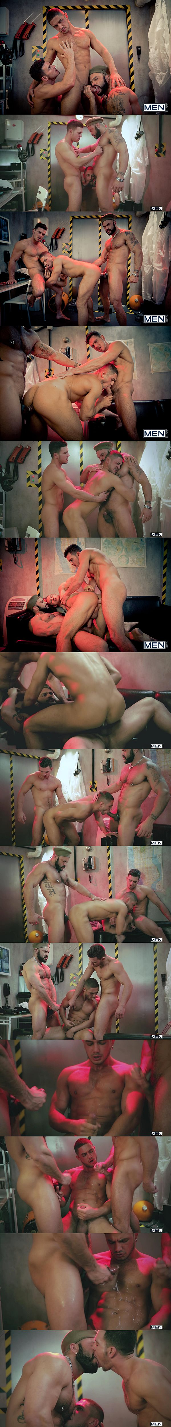 Masculine Paddy O'Brian & Rogan Richards fuck hot Russian stud Dato Foland in The End Part 2 at Drillmyhole 02