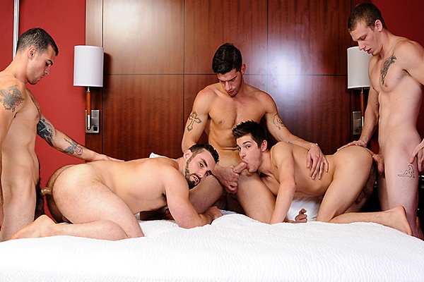 Jake Jammer, Johnny Forza & Ty Roderick Fuck Jaxton Wheeler & Johnny Rapid in There's Something About Johnny Part 5 at Jizzorgy