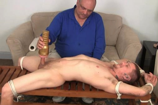 Young straight dude David gets edged by fleshlight till he shoots his big load then gets tickled at Slowteasinghandjobs