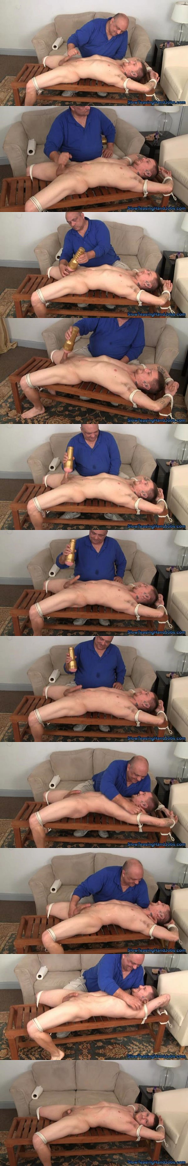Young straight dude David gets edged by fleshlight till he shoots his big load then gets tickled at Slowteasinghandjobs 02