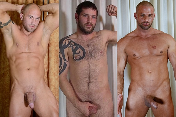 Hot masculine studs Gannicus, Jason and Levi show off their hot naked bodies before they shoot their juicy loads at Theguysite