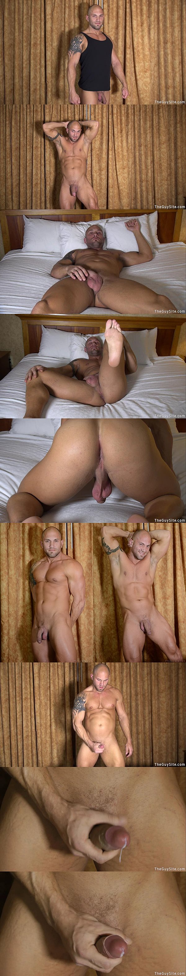 Hot skinhead bodybuilder Gannicus shows off his hard muscles before he dumps his milky load at Theguysite