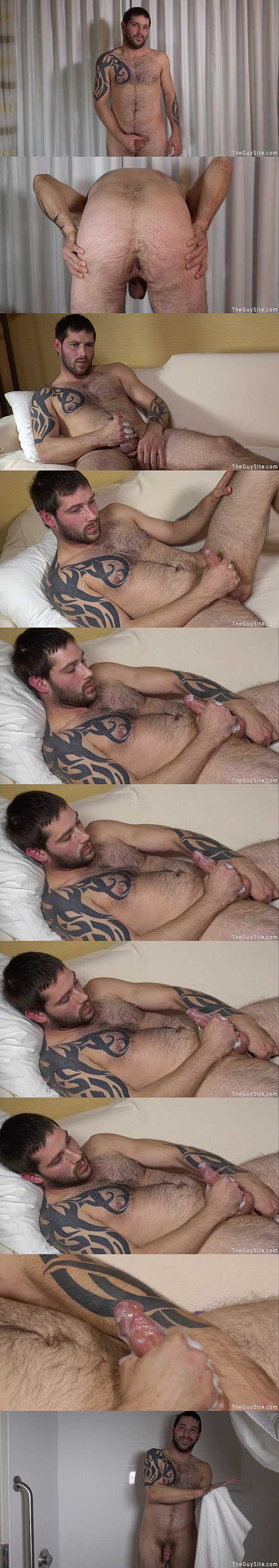 Hot scruffy stud Jason has an intense orgasm with big cumshots at Theguysite