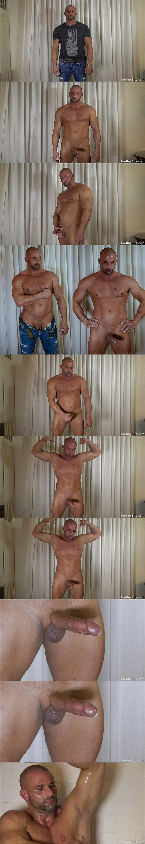 Straight macho hunk Levi shows off his hot naked body and big dick before he has a hand free jacking off at Theguysite
