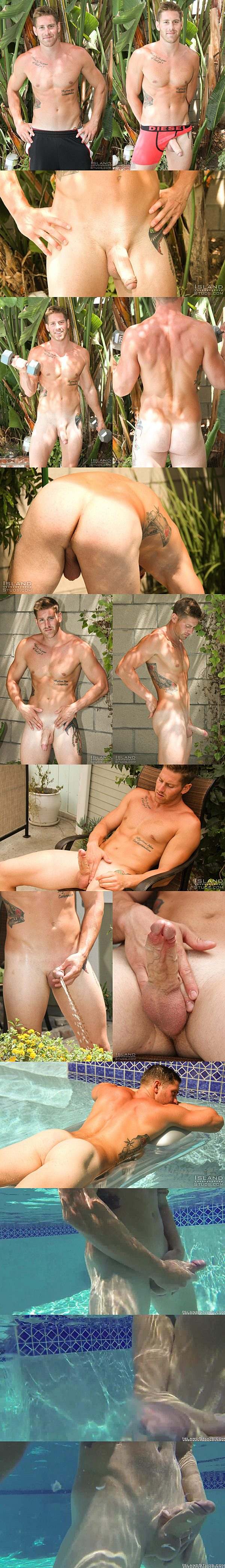 Handsome Hawaii college jock uncut big-dicked Troy shoots his thick cum underwater at Islandstuds 02