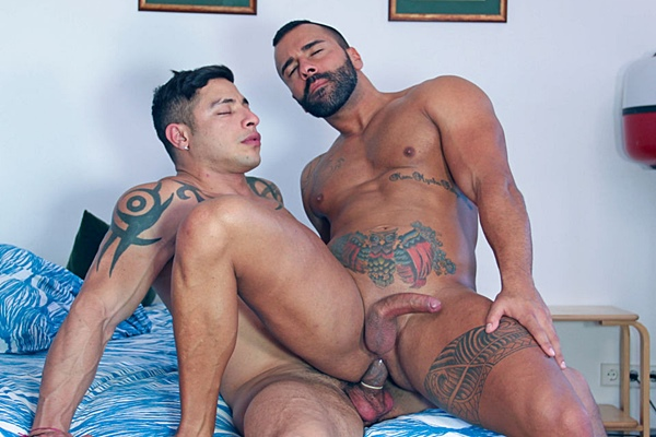 Masculine stud Julio Rey fucks a big load out of rugged handsome Tony Rivera in Casting Couch #320 at Kristenbjorn
