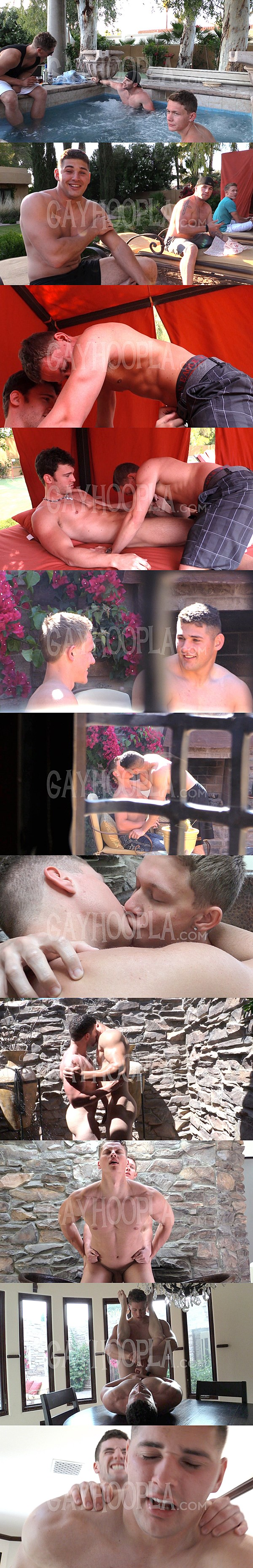 Four hot athletic jocks will have their bottoming debuts at Gayhoopla 01