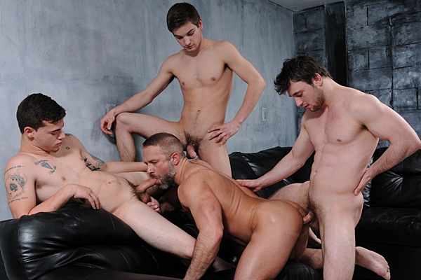 Dirk Caber, Johnny Rapid, Scott Harbor and Trevor Spade have a fourway orgy in Stepfather's Secret Part 4 at Jizzorgy