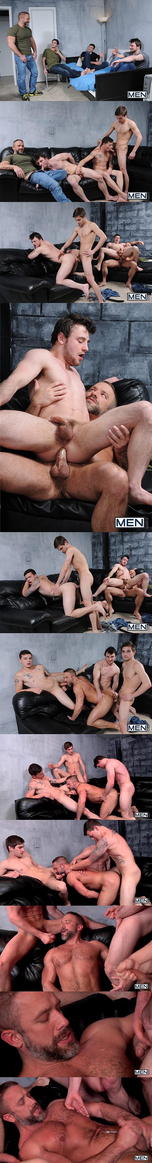 Dirk Caber, Johnny Rapid, Scott Harbor and Trevor Spade have a fourway orgy in Stepfather's Secret Part 4 at Jizzorgy 02