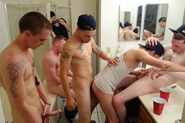 Four horny frat boys gangbang bareback freshman Brad's tight virgrin ass till they creampie Brad's fuck hole with four big loads in Freshman Hole at Fraternityx